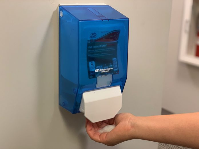 Hand sanitizer dispensers have been installed in Mercer buildings.