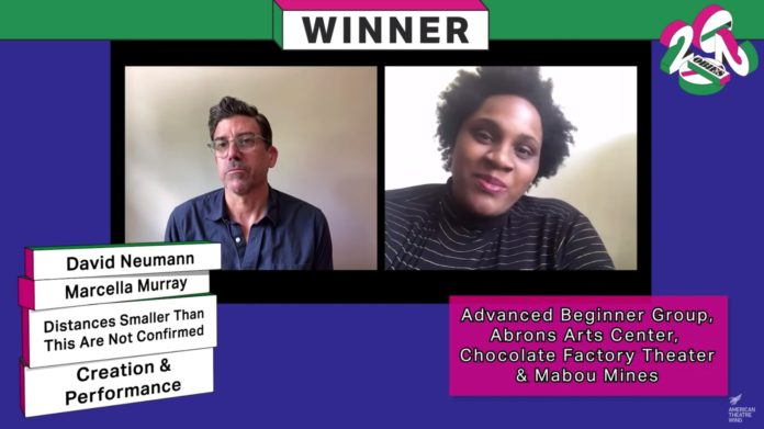 Screen grab from the virtual Obie Awards